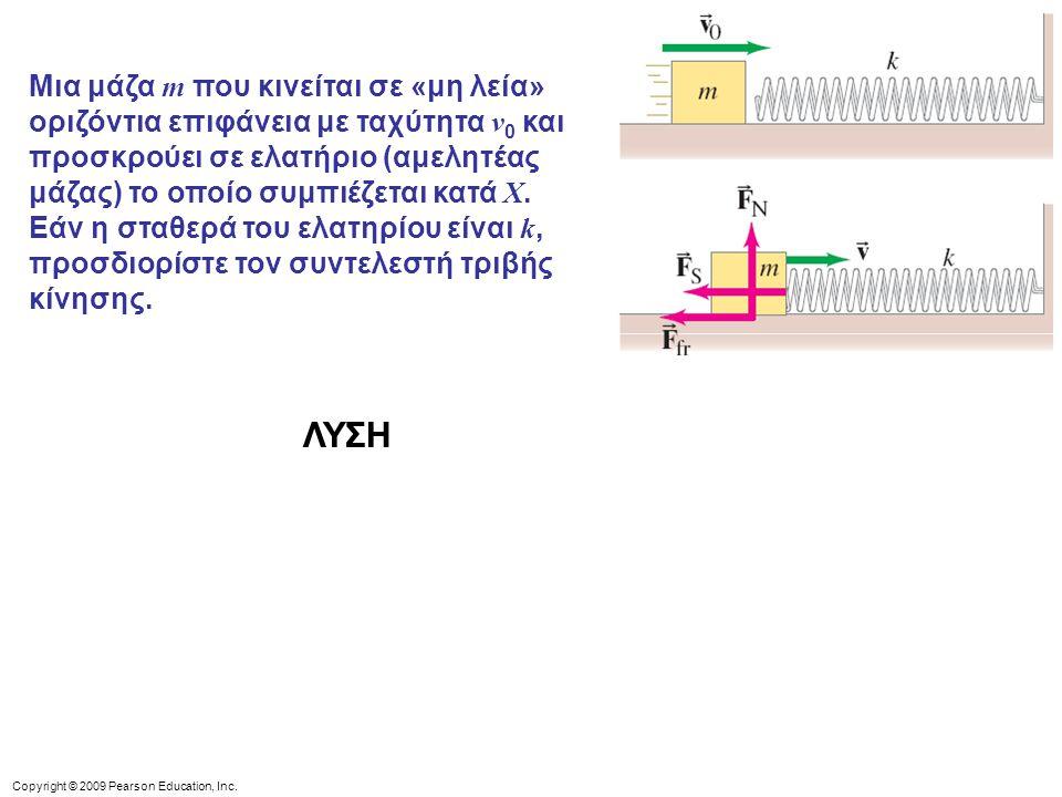 Μια μάζα m που κινείται σε «μη λεία» οριζόντια επιφάνεια με ταχύτητα v0 και προσκρούει σε ελατήριο (αμελητέας μάζας) το οποίο συμπιέζεται κατά X. Εάν η σταθερά του ελατηρίου είναι k, προσδιορίστε τον συντελεστή τριβής κίνησης.