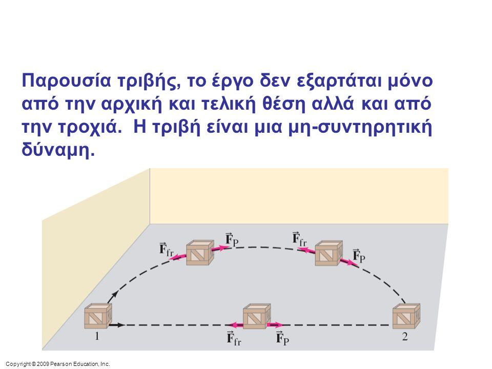 Παρουσία τριβής, το έργο δεν εξαρτάται μόνο από την αρχική και τελική θέση αλλά και από την τροχιά. Η τριβή είναι μια μη-συντηρητική δύναμη.