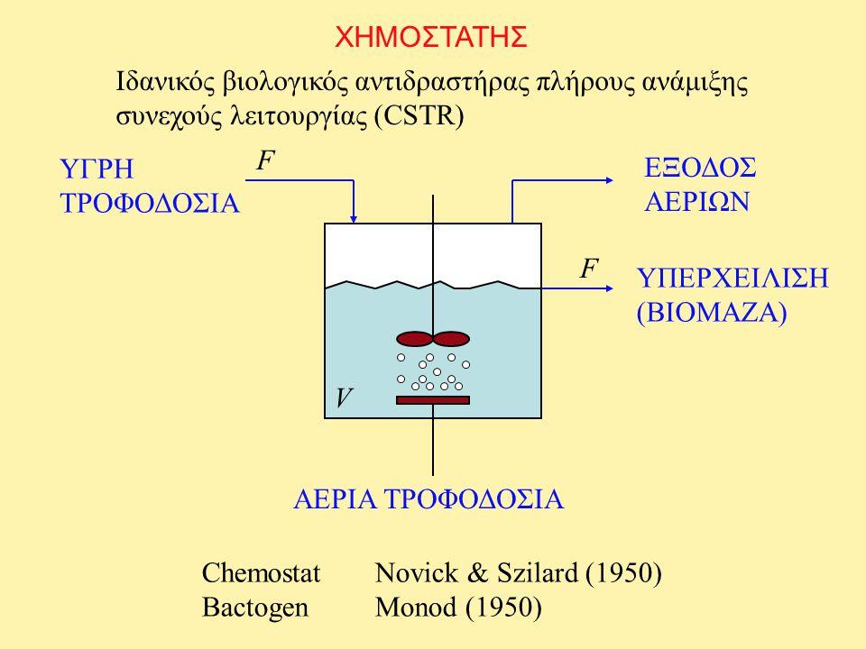 ΧΗΜΟΣΤΑΤΗΣ Ιδανικός βιολογικός αντιδραστήρας πλήρους ανάμιξης. συνεχούς λειτουργίας (CSTR) F. ΥΓΡΗ ΤΡΟΦΟΔΟΣΙΑ.