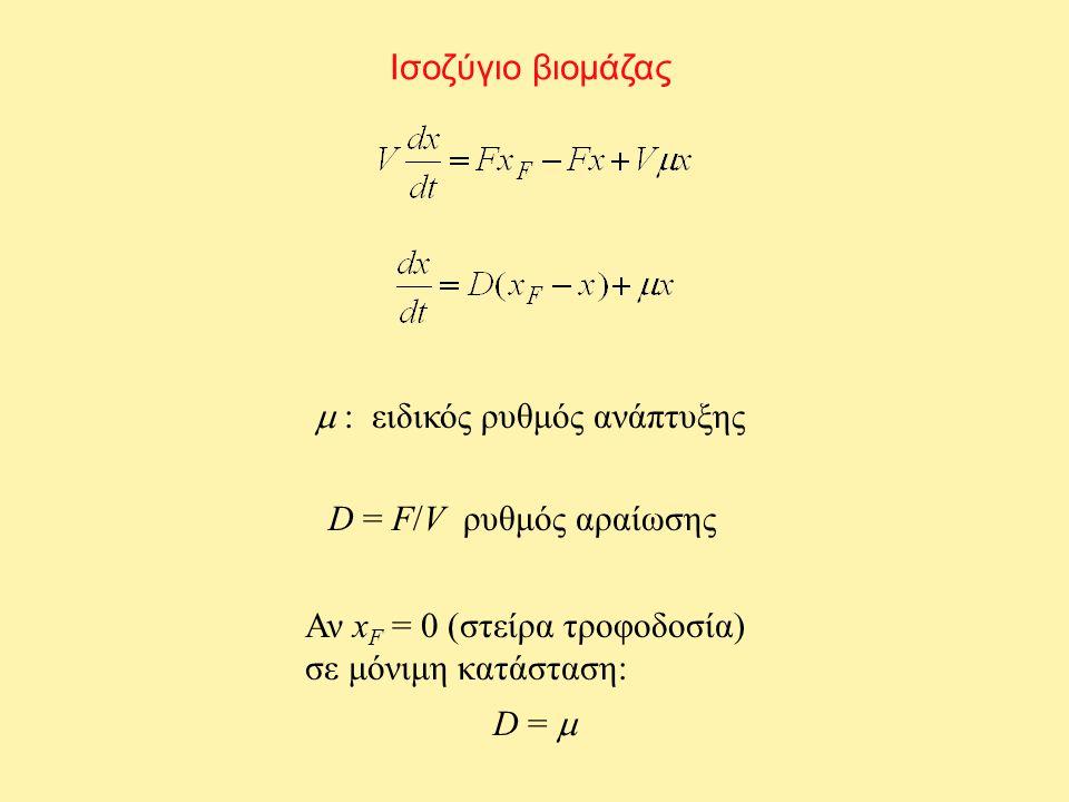 Ισοζύγιο βιομάζας  : ειδικός ρυθμός ανάπτυξης. D = F/V ρυθμός αραίωσης. Αν xF = 0 (στείρα τροφοδοσία)