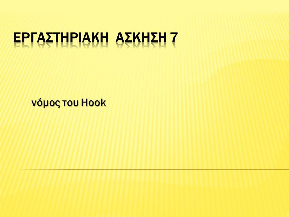 Εργαστηριακη ασκηση 7 νόμος του Hook