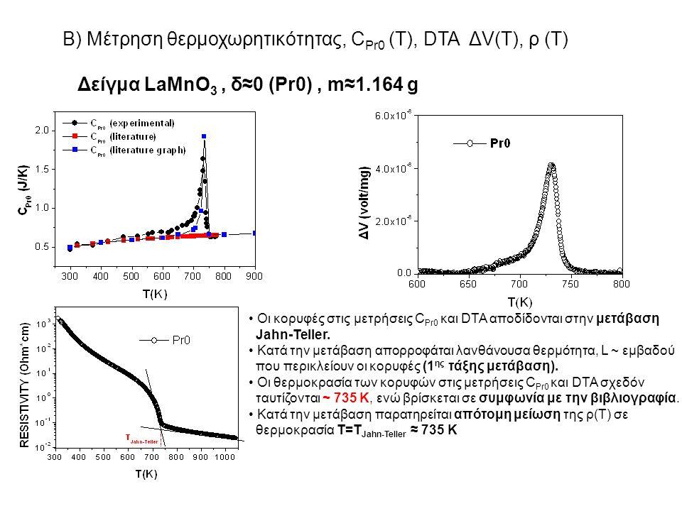 Β) Μέτρηση θερμοχωρητικότητας, CPr0 (T), DTA ΔV(T), ρ (T)