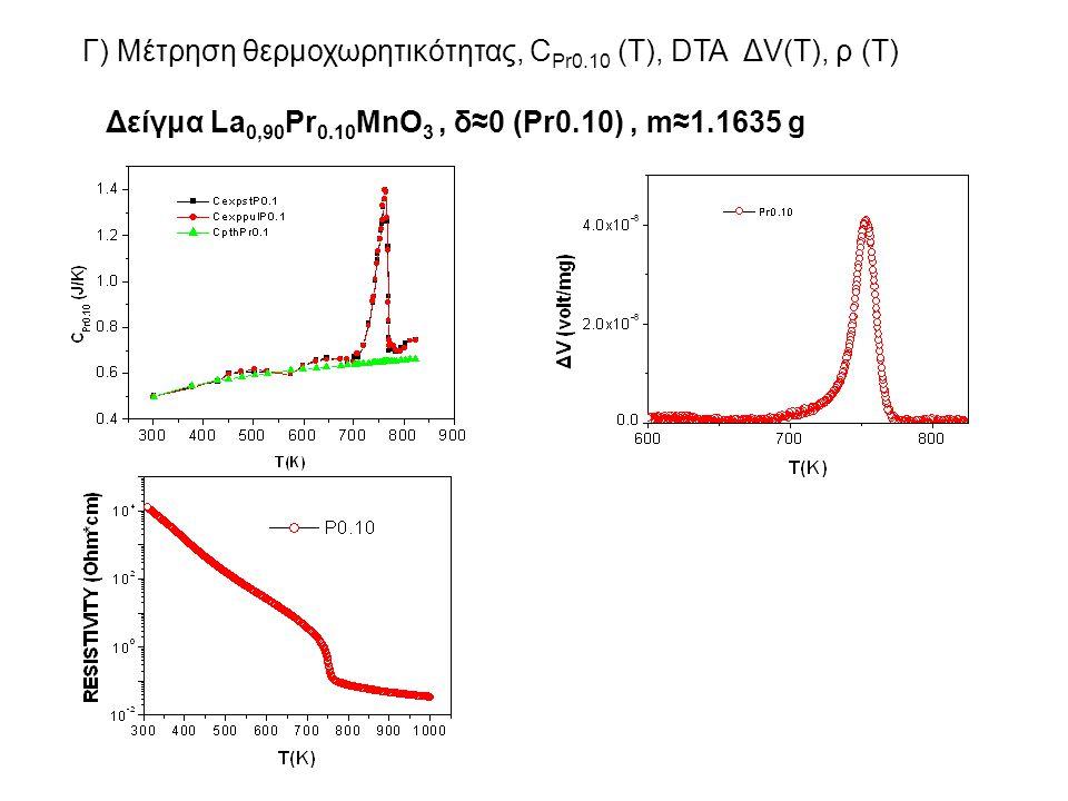 Γ) Μέτρηση θερμοχωρητικότητας, CPr0.10 (T), DTA ΔV(T), ρ (T)