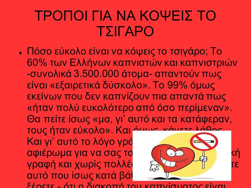 ΤΡΟΠΟΙ ΓΙΑ ΝΑ ΚΟΨΕΙΣ ΤΟ ΤΣΙΓΑΡΟ