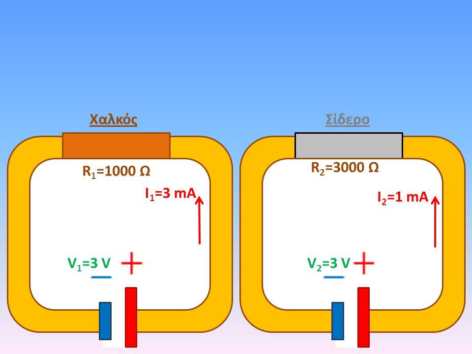 Χαλκός Σίδερο R2=3000 Ω R1=1000 Ω Ι1=3 mA Ι2=1 mA V1=3 V V2=3 V