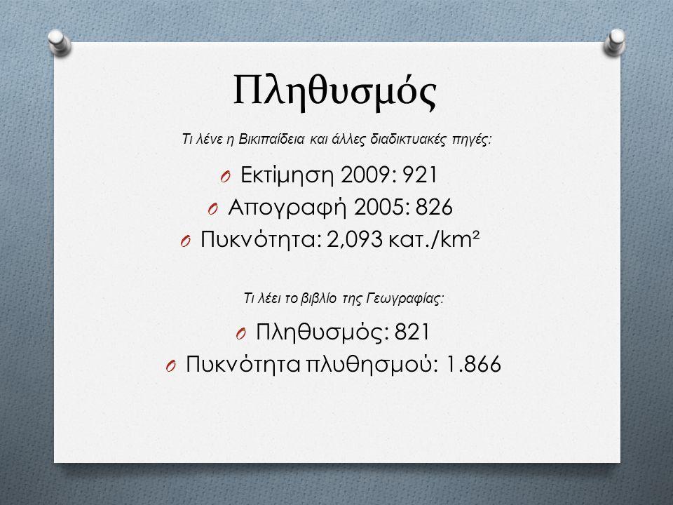 Πληθυσμός Εκτίμηση 2009: 921 Απογραφή 2005: 826