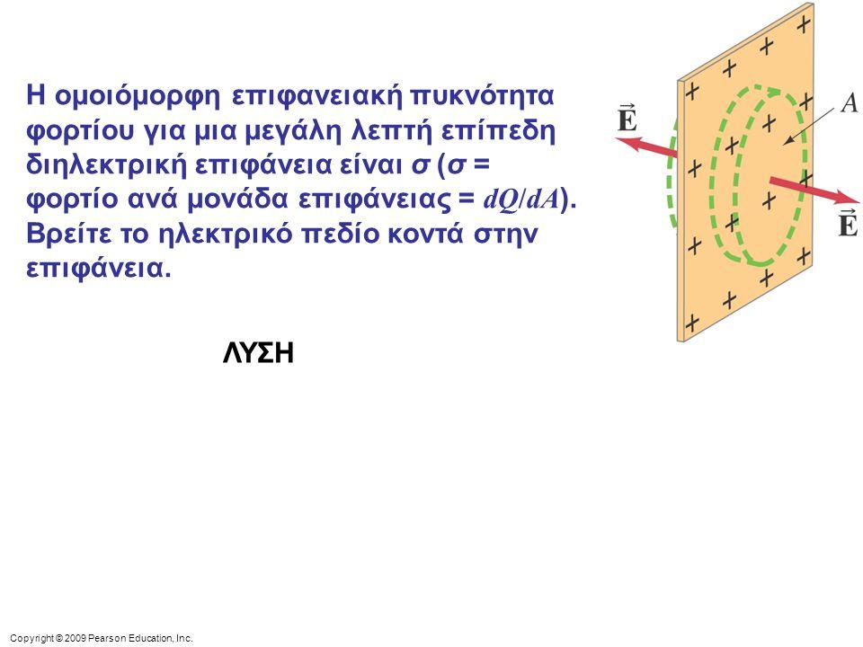 Η ομοιόμορφη επιφανειακή πυκνότητα φορτίου για μια μεγάλη λεπτή επίπεδη διηλεκτρική επιφάνεια είναι σ (σ = φορτίο ανά μονάδα επιφάνειας = dQ/dA). Βρείτε το ηλεκτρικό πεδίο κοντά στην επιφάνεια.