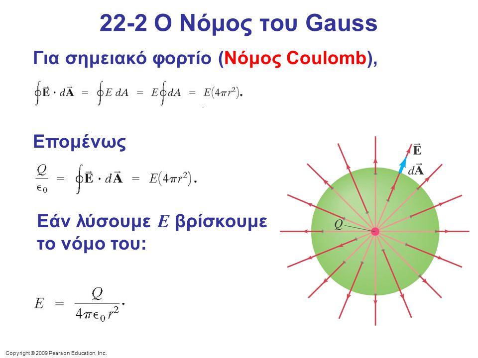 22-2 Ο Νόμος του Gauss Για σημειακό φορτίο (Νόμος Coulomb), Επομένως