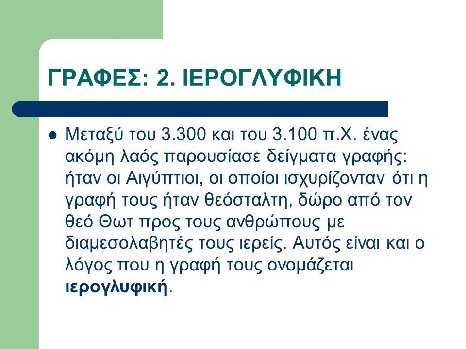 ΓΡΑΦΕΣ: 2. ΙΕΡΟΓΛΥΦΙΚΗ