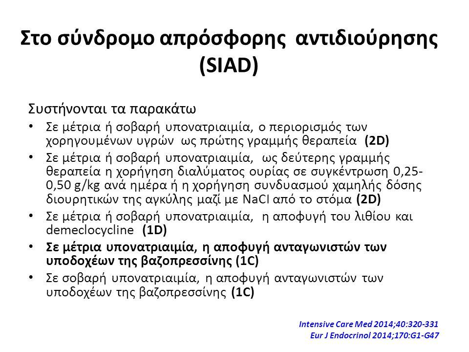 Στο σύνδρομο απρόσφορης αντιδιούρησης (SIAD)