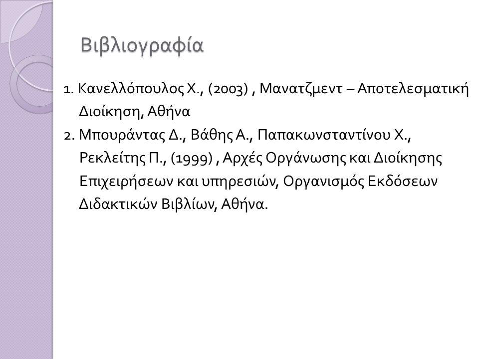 Βιβλιογραφία 1. Κανελλόπουλος Χ., (2003) , Μανατζμεντ – Αποτελεσματική