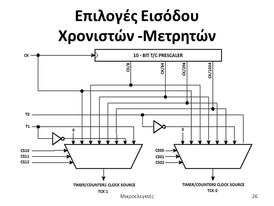 Επιλογές Εισόδου Χρονιστών -Μετρητών