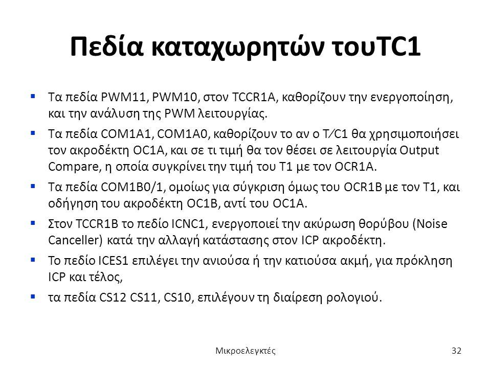Πεδία καταχωρητών τουTC1