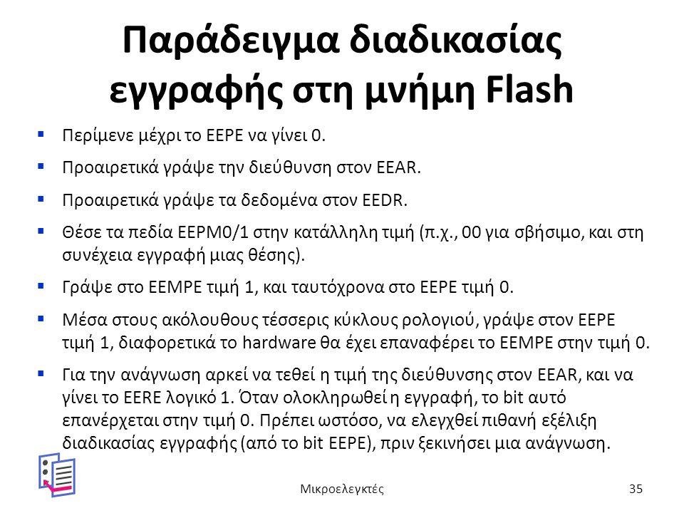 Παράδειγμα διαδικασίας εγγραφής στη μνήμη Flash