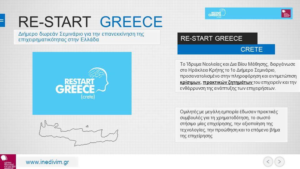 RE-START GREECE RE-START GREECE CRETE www.inedivim.gr