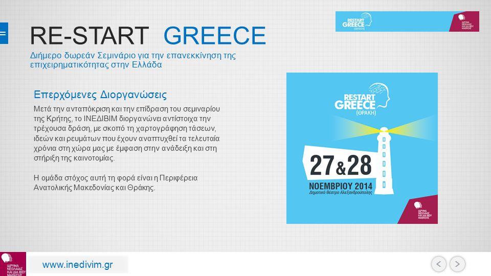 RE-START GREECE Επερχόμενες Διοργανώσεις www.inedivim.gr