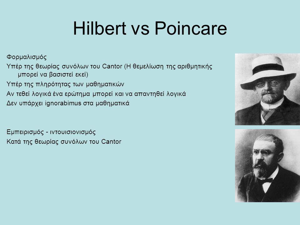 Hilbert vs Poincare Φορμαλισμός