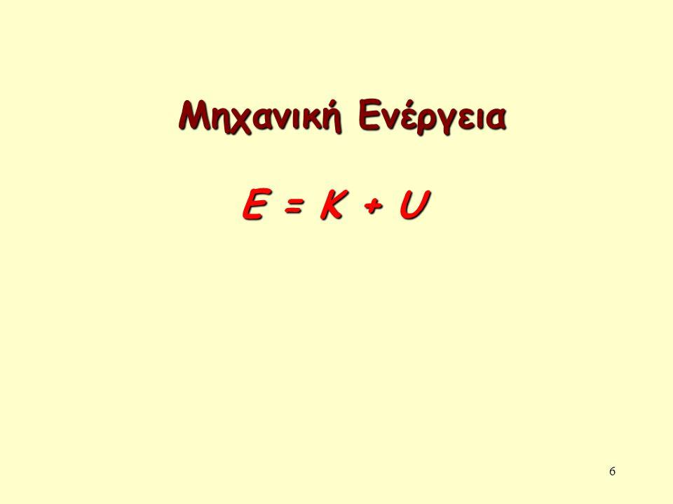 Μηχανική Ενέργεια Ε = Κ + U