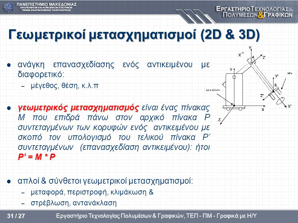 Γεωμετρικοί μετασχηματισμοί (2D & 3D)