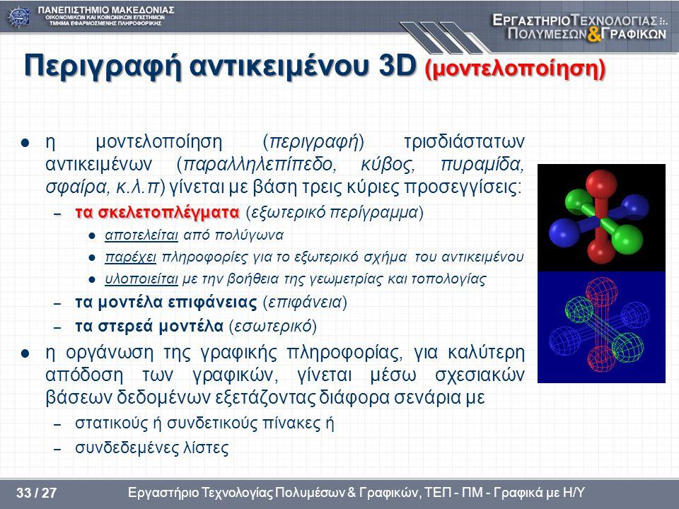 Περιγραφή αντικειμένου 3D (μοντελοποίηση)
