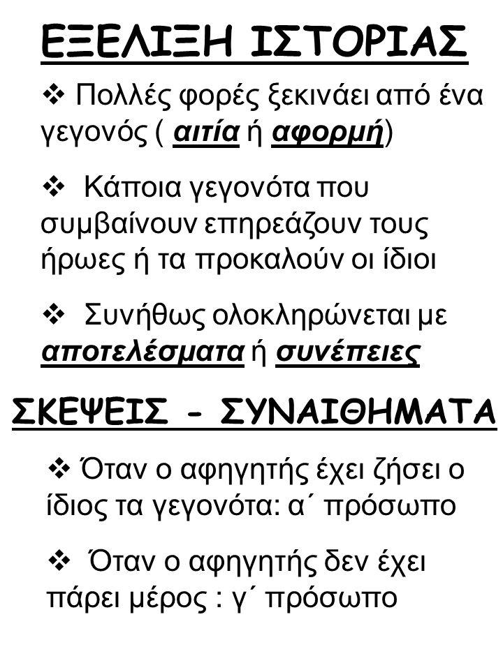 ΕΞΕΛΙΞΗ ΙΣΤΟΡΙΑΣ ΣΚΕΨΕΙΣ - ΣΥΝΑΙΘΗΜΑΤΑ