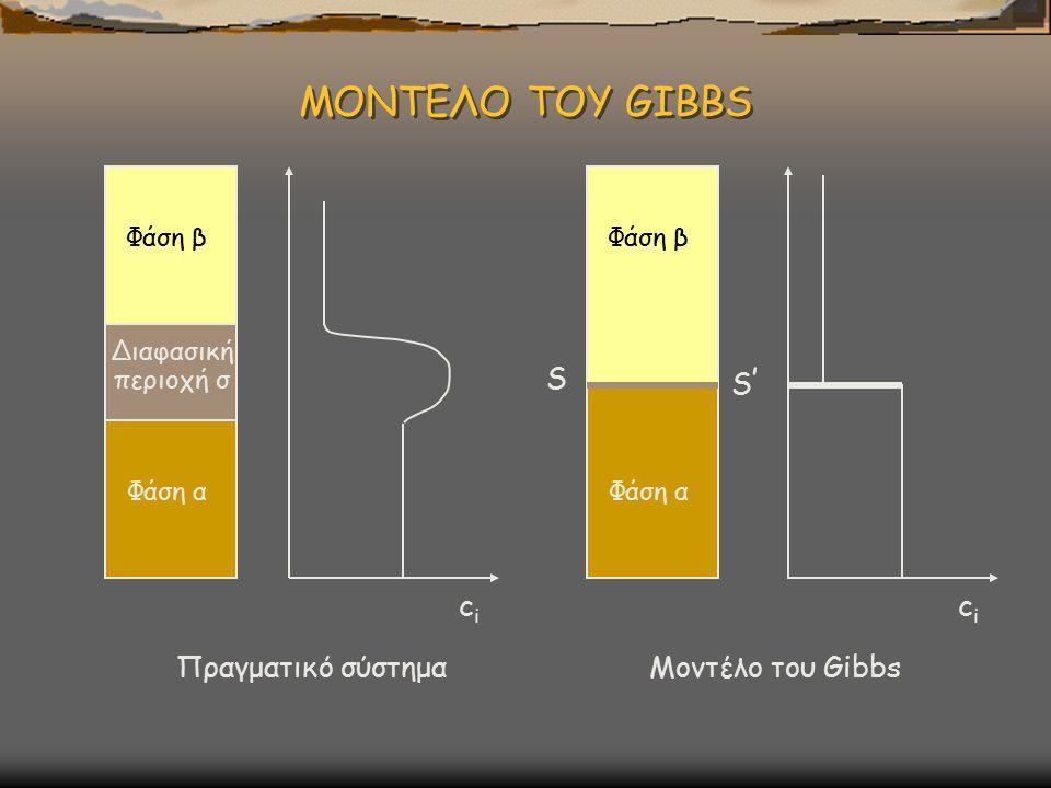 ΜΟΝΤΕΛΟ ΤΟΥ GIBBS ci S S' ci Πραγματικό σύστημα Μοντέλο του Gibbs