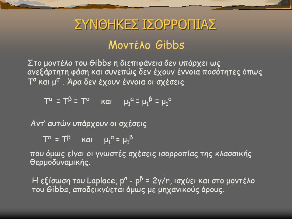 ΣΥΝΘΗΚΕΣ ΙΣΟΡΡΟΠΙΑΣ Μοντέλο Gibbs