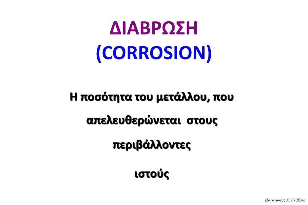 ΔΙΑΒΡΩΣΗ (CORROSION) H ποσότητα του μετάλλου, που απελευθερώνεται στους περιβάλλοντες ιστούς