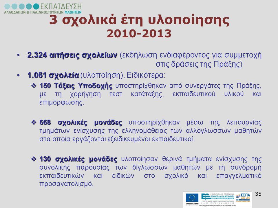 3 σχολικά έτη υλοποίησης 2010-2013