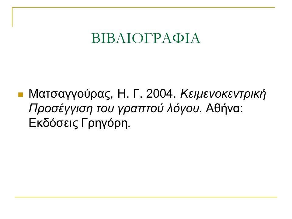 ΒΙΒΛΙΟΓΡΑΦΙΑ Ματσαγγούρας, Η. Γ. 2004. Κειμενοκεντρική Προσέγγιση του γραπτού λόγου.