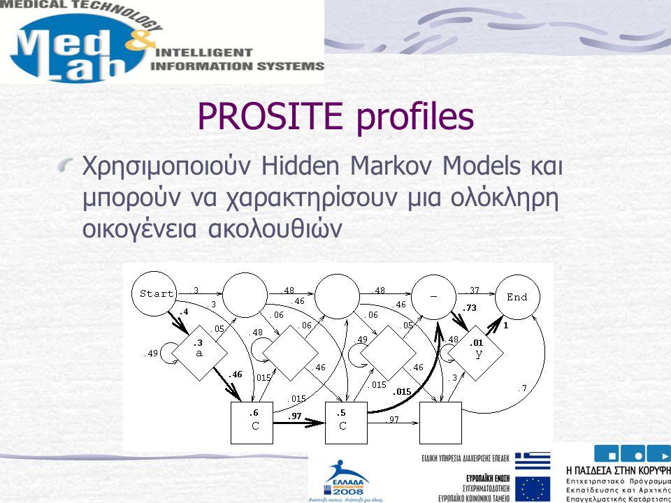PROSITE profiles Χρησιμοποιούν Hidden Markov Models και μπορούν να χαρακτηρίσουν μια ολόκληρη οικογένεια ακολουθιών.