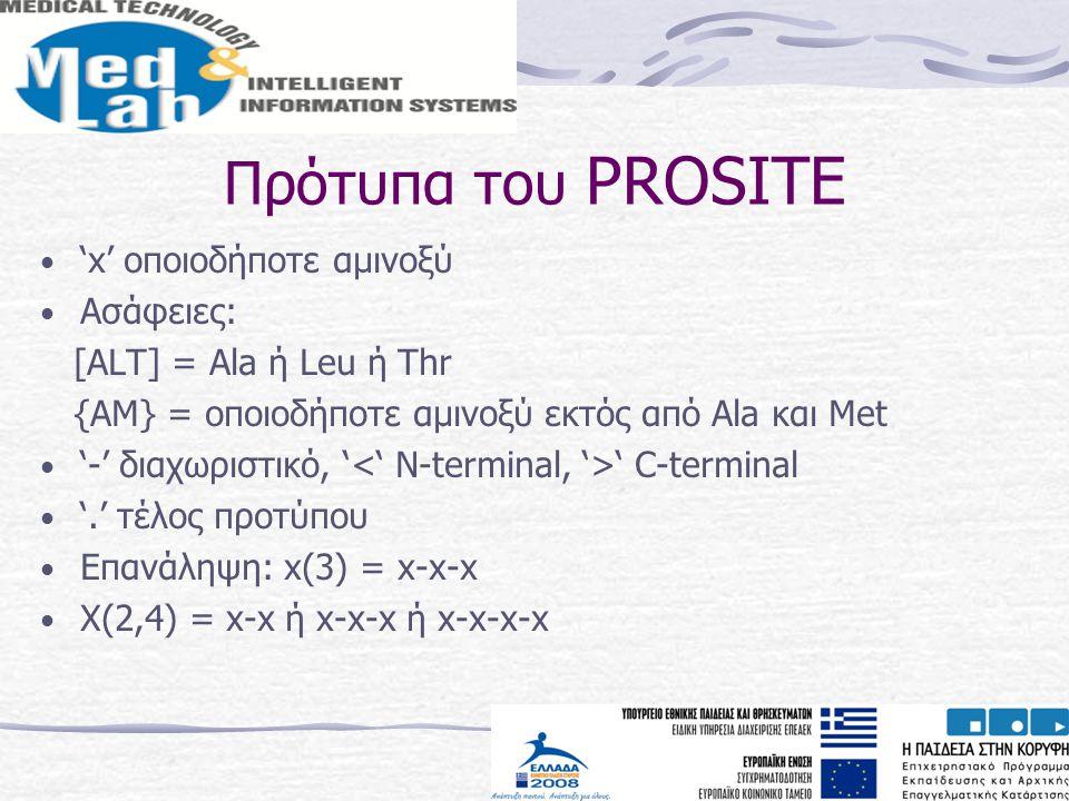 Πρότυπα του PROSITE 'x' οποιοδήποτε αμινοξύ Ασάφειες: