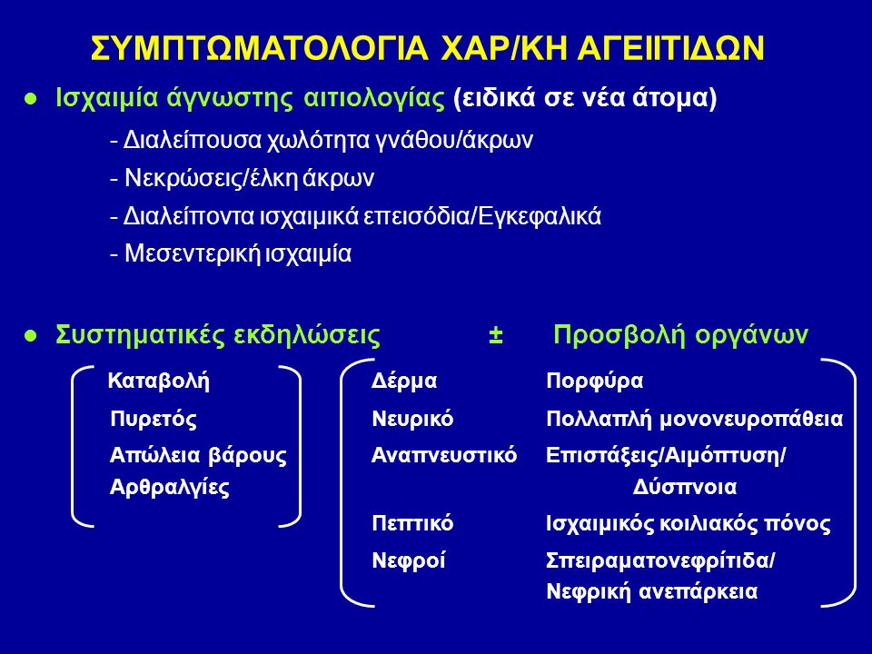 ΣΥΜΠΤΩΜΑΤΟΛΟΓΙΑ ΧΑΡ/ΚΗ ΑΓΕΙΙΤΙΔΩΝ