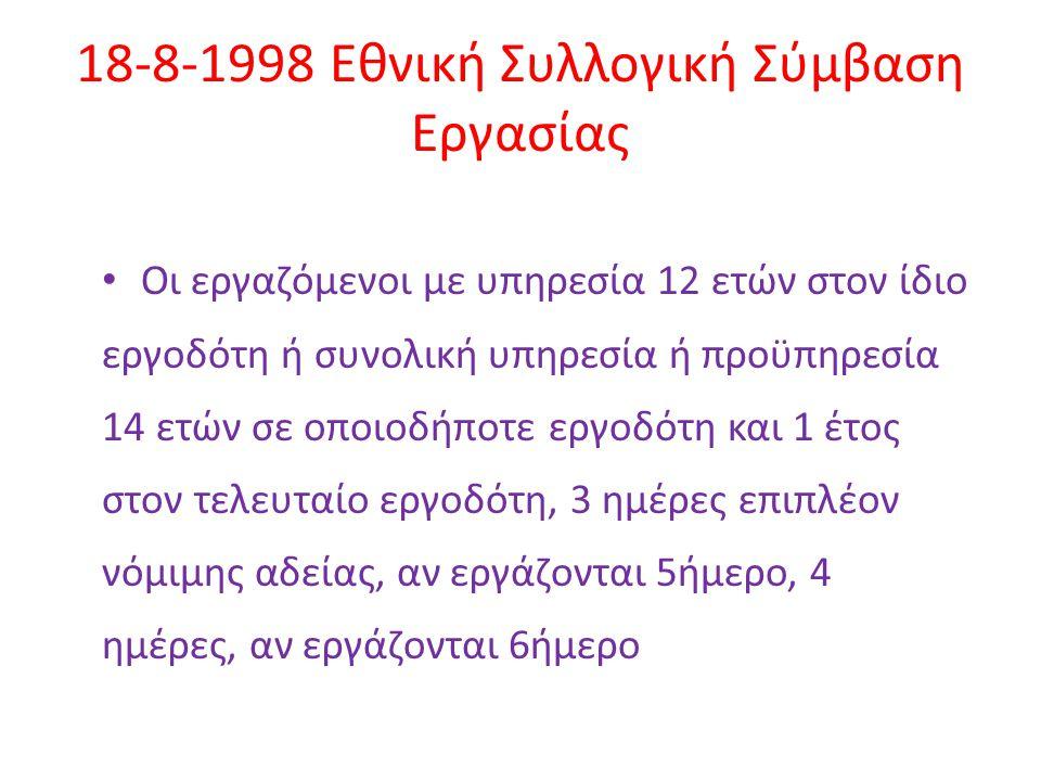 18-8-1998 Εθνική Συλλογική Σύμβαση Εργασίας