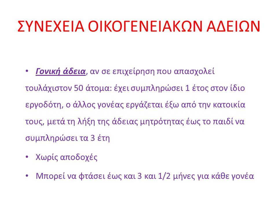 ΣΥΝΕΧΕΙΑ ΟΙΚΟΓΕΝΕΙΑΚΩΝ ΑΔΕΙΩΝ