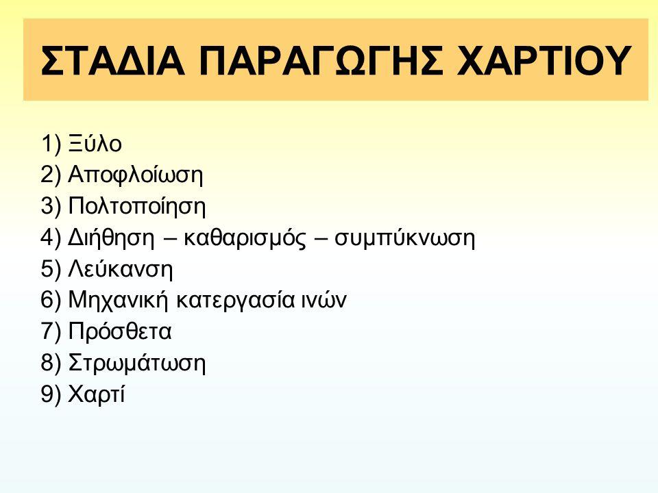 ΣΤΑΔΙΑ ΠΑΡΑΓΩΓΗΣ ΧΑΡΤΙΟΥ
