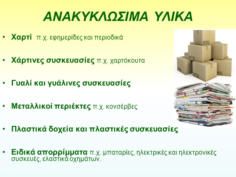 ΑΝΑΚΥΚΛΩΣΙΜΑ ΥΛΙΚΑ Χαρτί π.χ. εφημερίδες και περιοδικά