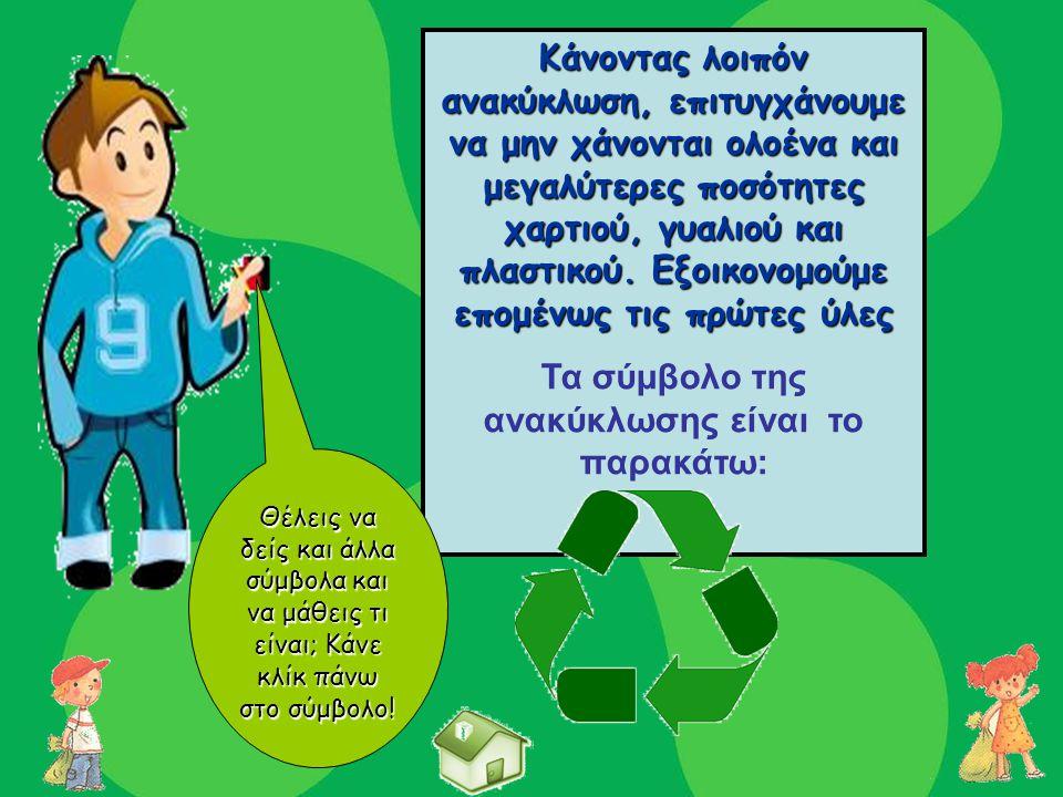Τα σύμβολο της ανακύκλωσης είναι το παρακάτω: