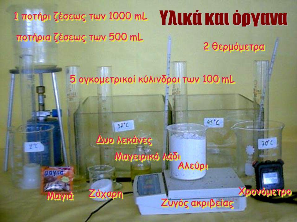 Υλικά και όργανα 1 ποτήρι ζέσεως των 1000 mL ποτήρια ζέσεως των 500 mL