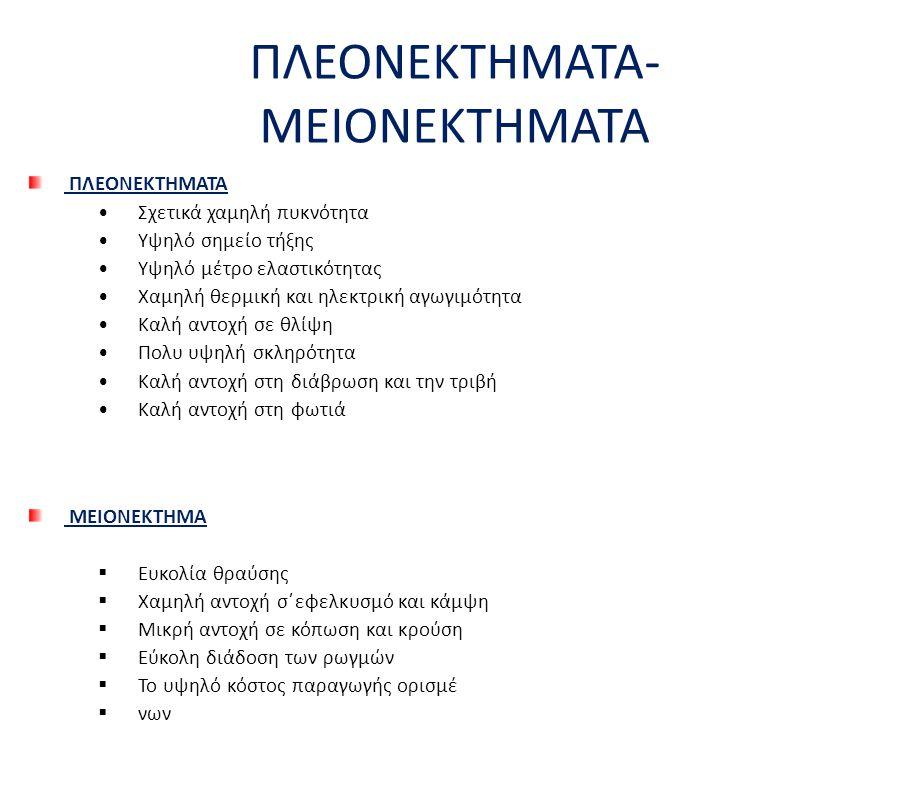 ΠΛΕΟΝΕΚΤΗΜΑΤΑ- ΜΕΙΟΝΕΚΤΗΜΑΤΑ