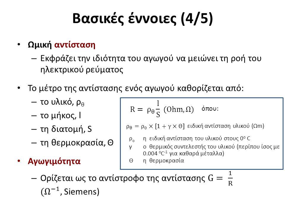 Βασικές έννοιες (5/5) Νόμος του Ohm σε συνεχές ρεύμα