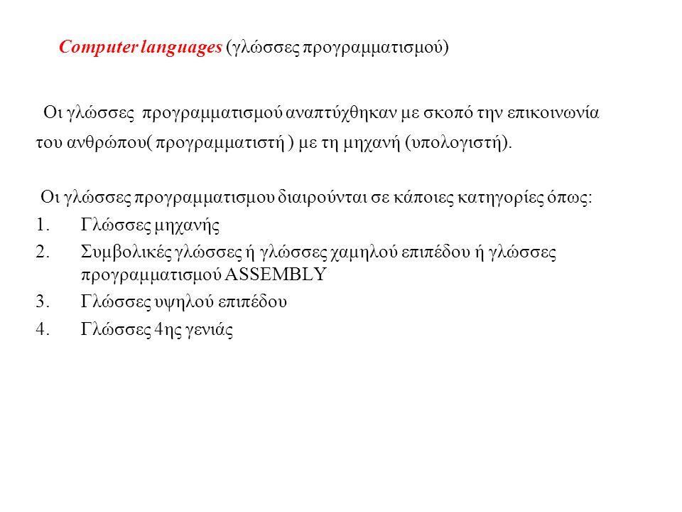 Computer languages (γλώσσες προγραμματισμού)