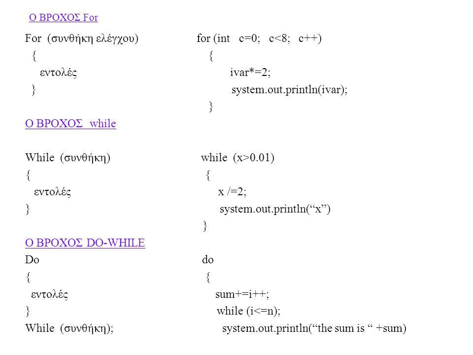 For (συνθήκη ελέγχου) for (int c=0; c<8; c++) { { εντολές ivar*=2;
