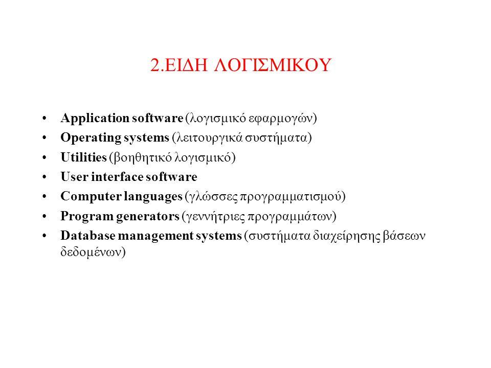 2.ΕΙΔΗ ΛΟΓΙΣΜΙΚΟΥ Application software (λογισμικό εφαρμογών)