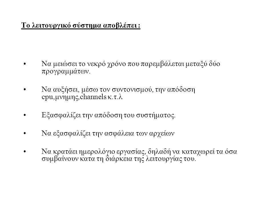 Το λειτουργικό σύστημα αποβλέπει :