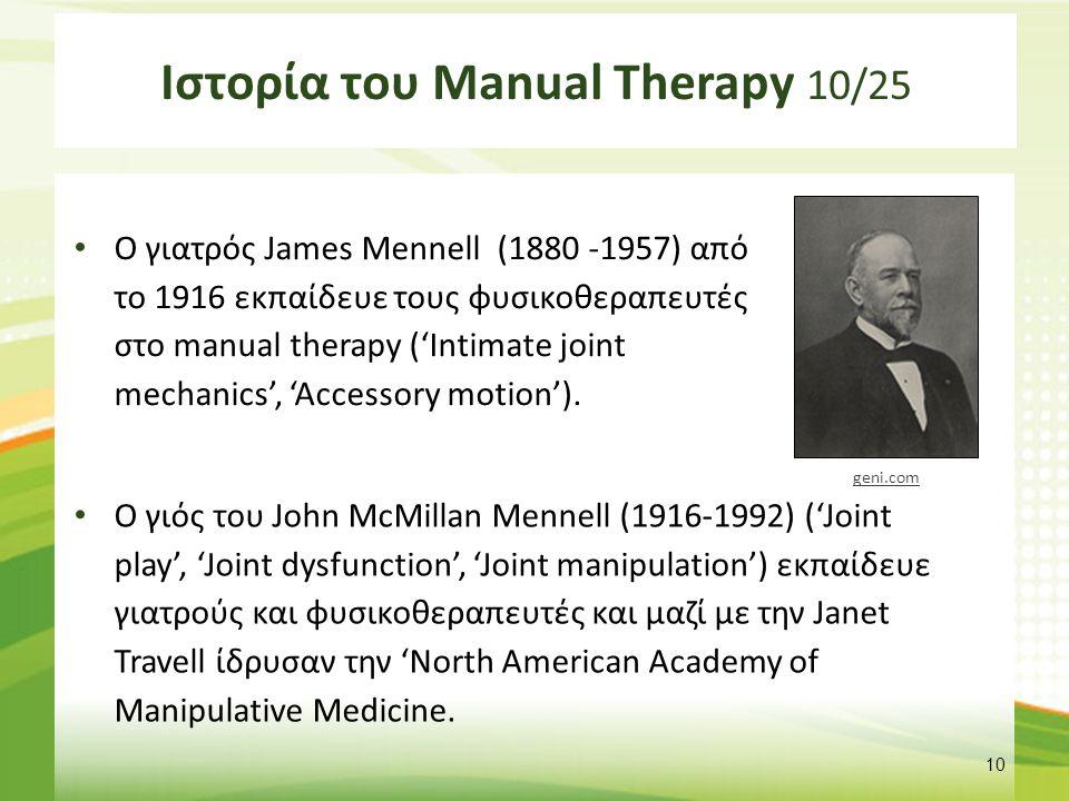 Ιστορία του Manual Therapy 11/25