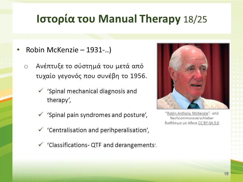 Ιστορία του Manual Therapy 19/25