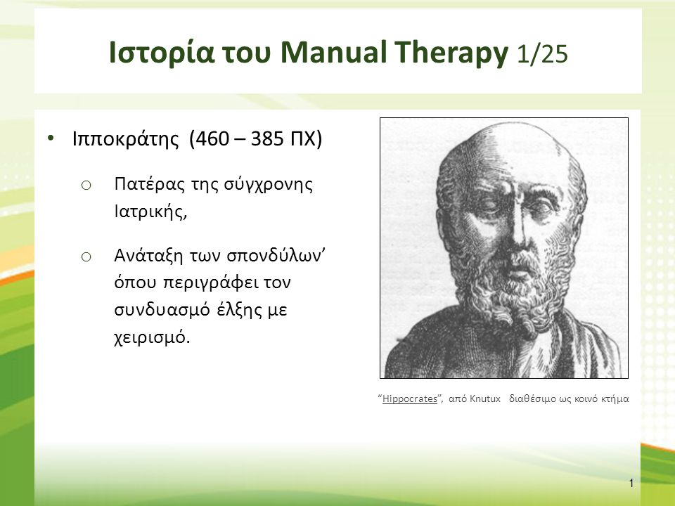 Ιστορία του Manual Therapy 2/25