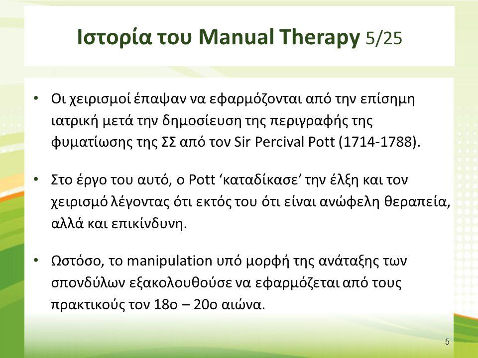 Ιστορία του Manual Therapy 6/25