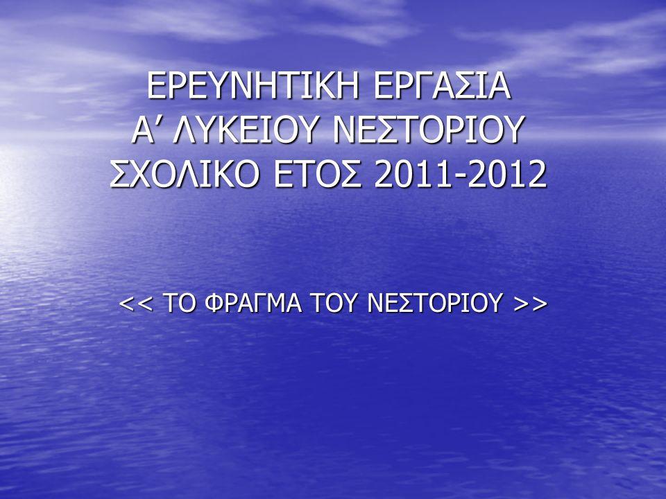 ΕΡΕΥΝΗΤΙΚΗ ΕΡΓΑΣΙΑ Α' ΛΥΚΕΙΟΥ ΝΕΣΤΟΡΙΟΥ ΣΧΟΛΙΚΟ ΕΤΟΣ 2011-2012